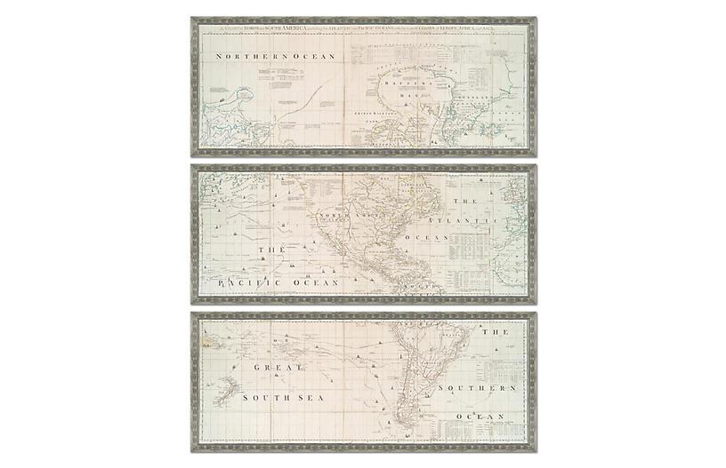 Silver-Leaf Map Triptych Maps