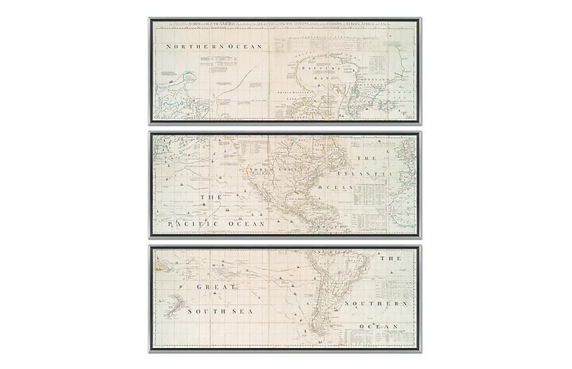 Silver & Gold Map Triptych Maps, Silver/Gold