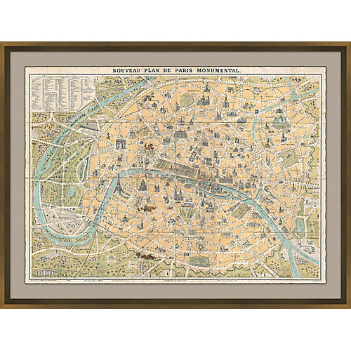 Paris Map Maps, Bronze Leaf