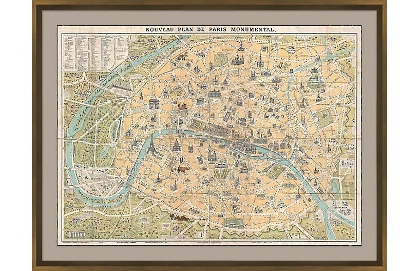 Paris Map Maps, Bronze Leaf