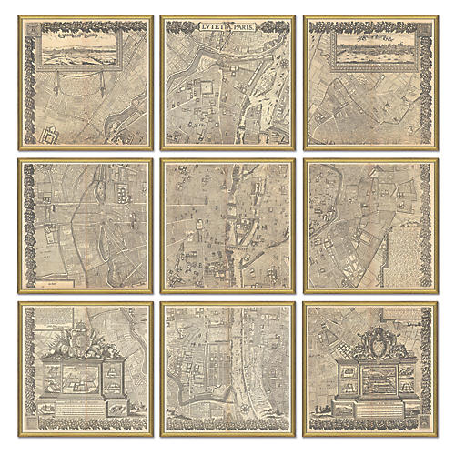 Map of Paris Polyptych, Gold Maps, Gold Leaf