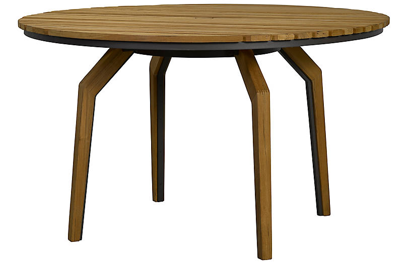 Cote d'Azur Round Dining Table, Natural/Taupe