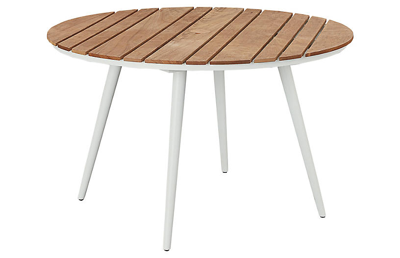 Essentials Round Dining Table, White/Teak
