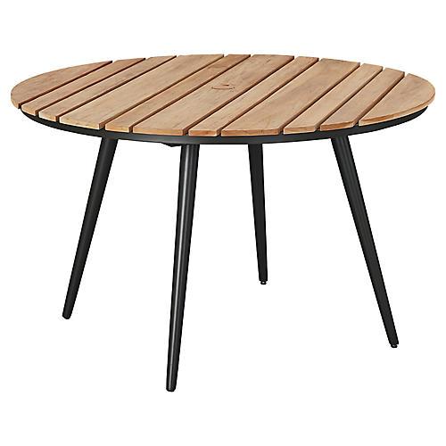 Essentials Round Dining Table, Black/Teak