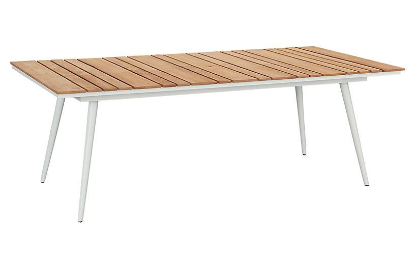 Essentials Rect. Dining Table, White/Teak