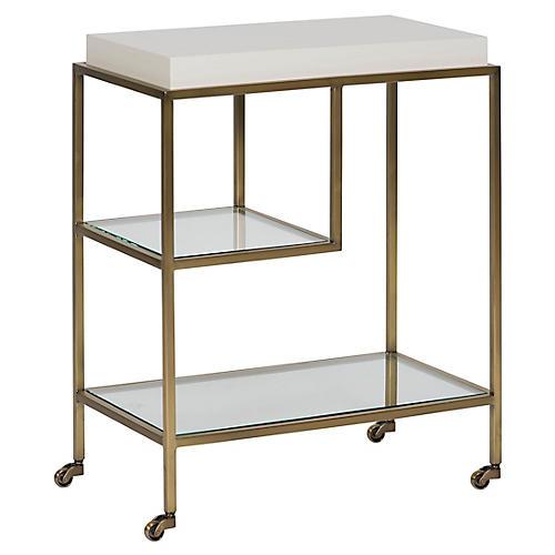 Theo Bar Cart, Satin Brass