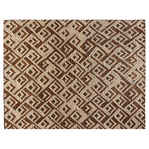 Kota Hand-Knotted Rug, Bronze/Cream