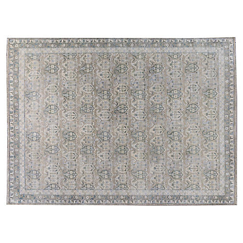 """8'11""""x12' Amloh Hand-Knotted Rug, Green/Blue"""