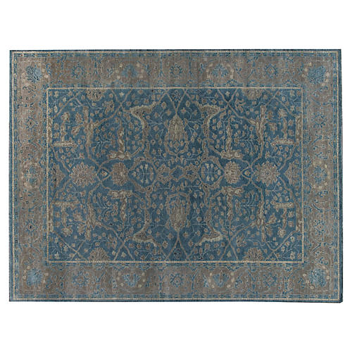 Anand Hand-Knotted Rug, Navy/Taupe