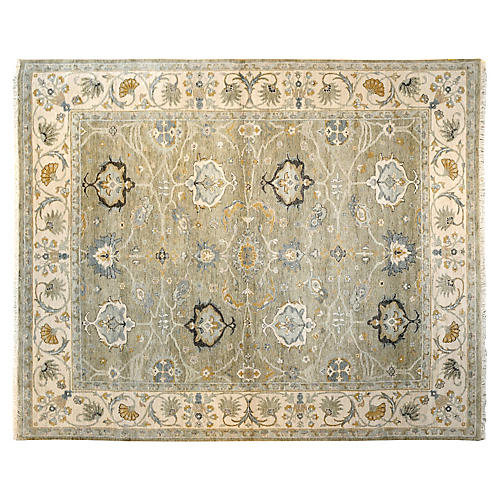 "8'x9'11"" Banka Hand-Knotted Rug, Gray/Beige"