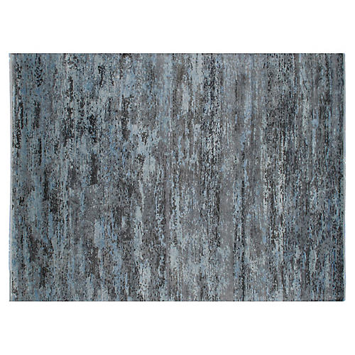 "8'11""x11'11"" Curti Hand-Knotted Rug, Blue/Gray"