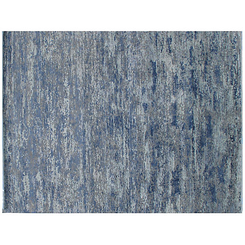 """9'1""""x11'10"""" Dabra Hand-Knotted Rug, Blue"""