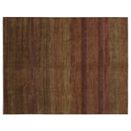 Dhule Hand-Knotted Rug, Rust/Moss