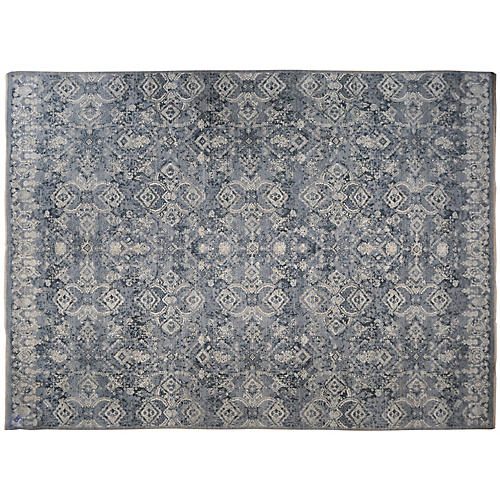"9'10""x13'10"" Ghoga Hand-Knotted Rug, Blue"