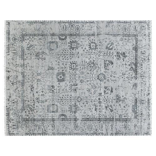 "7'8""x10' Hapur Hand-Knotted Rug, Light Blue"