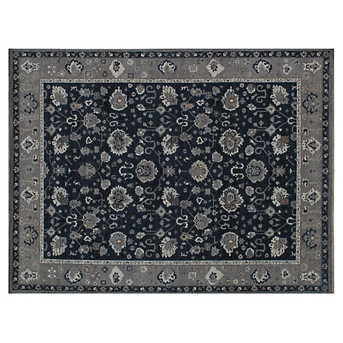 """9'1""""x12' Hodal Hand-Knotted Rug, Navy"""