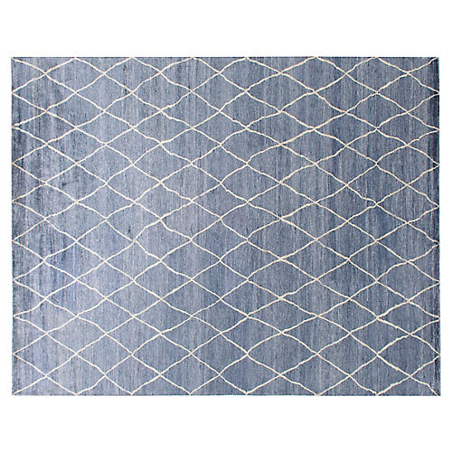 Kallur Hand-Knotted Rug, Blue/Ivory