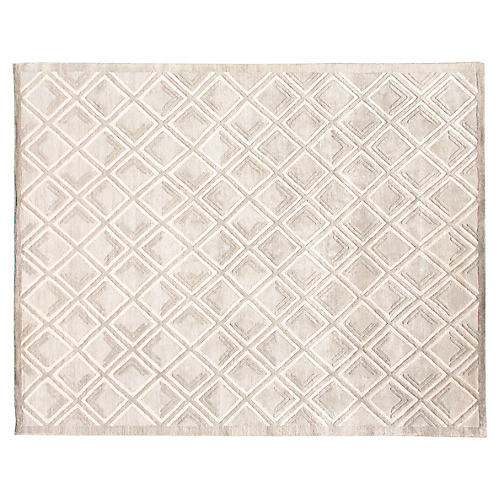 6'x9' Mallur Hand-Knotted Rug, Cream/Multi