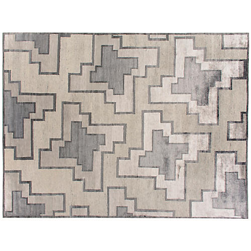 "9'10""x13'9"" Walani Hand-Knotted Rug, Beige/Gray"