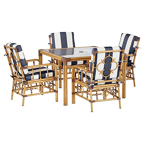 Mimi 5-Pc Dining Set, Navy/White Stirpe