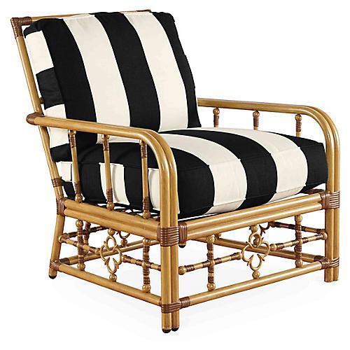 Mimi Lounge Chair, Black/White Stripe
