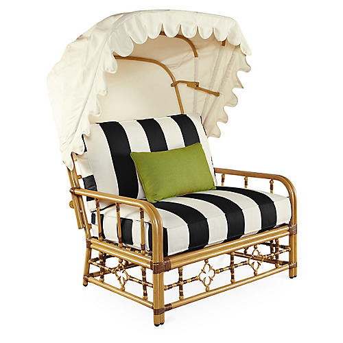 Mimi Cuddle Chair & Canopy, Black/White Stripe