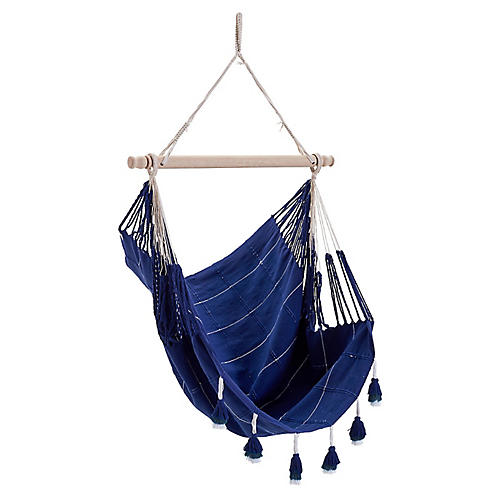 Macramé Hammock Chair, Navy
