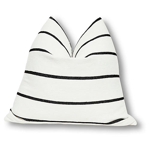 Paloma 24x24 Pillow, White/Black