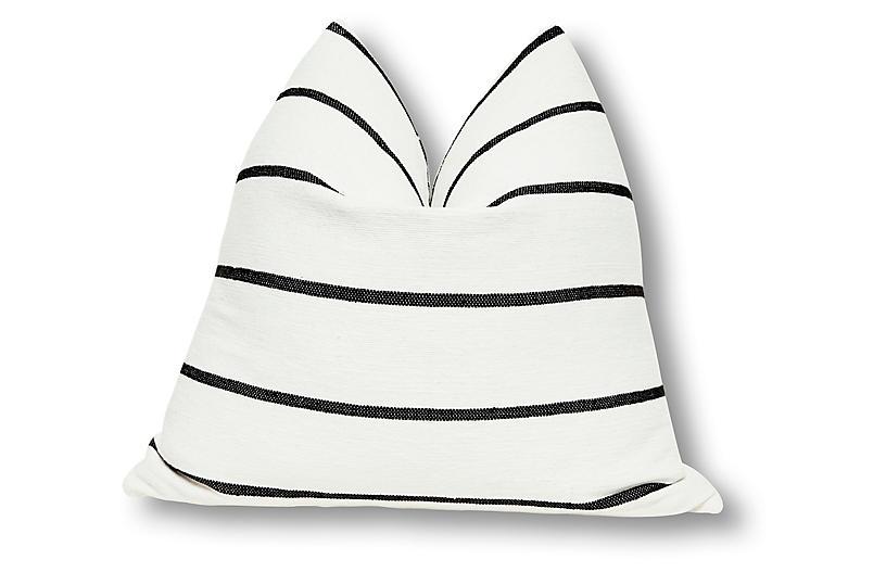 Paloma 24x24 Pillow, White/Black