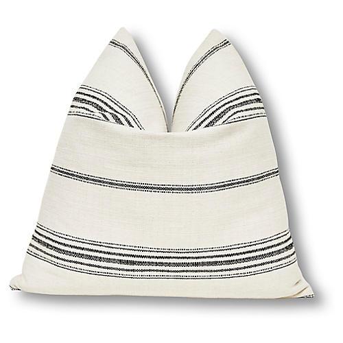 Liza 24x24 Pillow, Natural/Black Linen