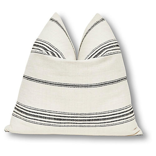 Liza 24x24 Pillow, Natural/Black Linen