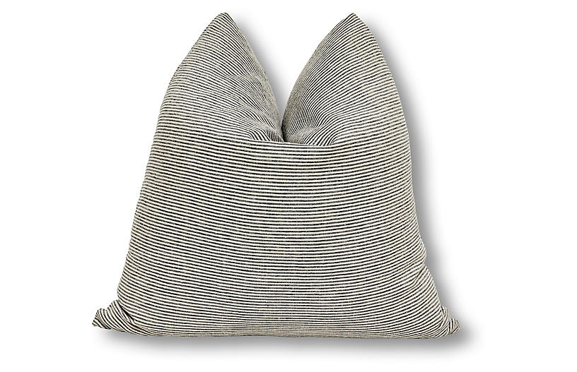 French Ticking 24x24 Pillow, Charcoal