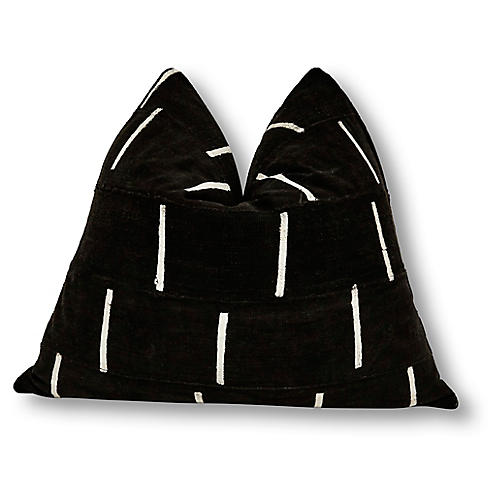 Dash 24x24 Pillow, Black/White