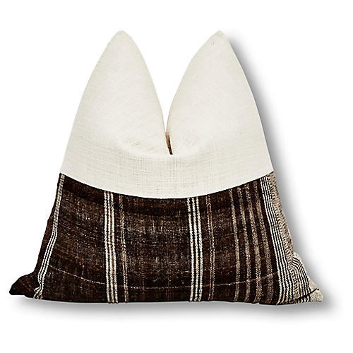 Berber 24x24 Pillow, Ivory/Bark