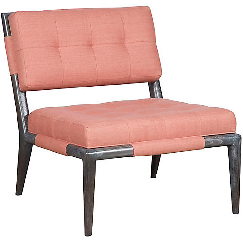 Chatfield Armless Accent Chair, Rose Linen