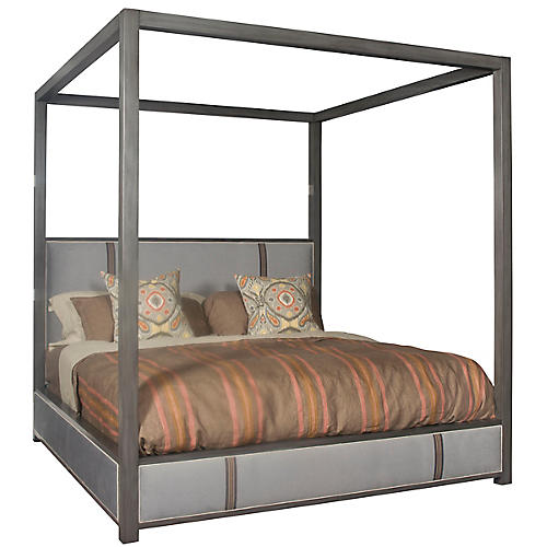 Marshall Canopy Bed, Soft Blue