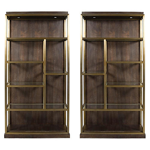 S/2 Beacon Bookcases, Walnut