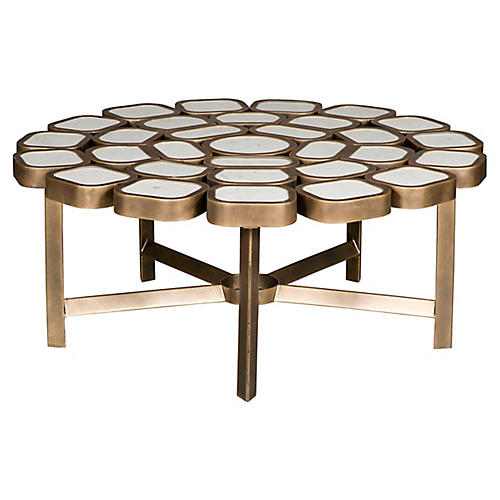 Yalta Coffee Table, Brass