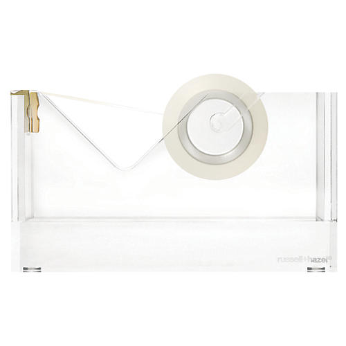 Acrylic Tape Dispenser, Clear/Gold