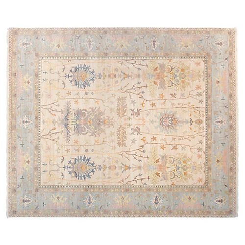 8'x10' Michelle Rug, Ivory/Sky Blue