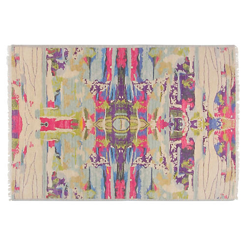 4'x6' Graphic Rug, Beige