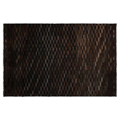 """6'6""""x10' Shani Afghan Kilim, Black"""