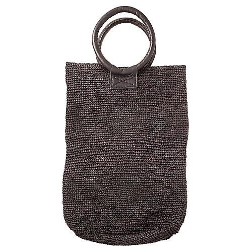 Crochet Raffia Bag, Black