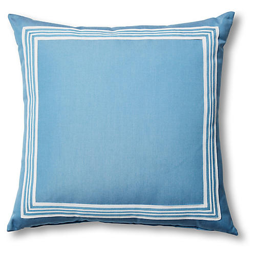 Kit Outdoor Pillow, Blue/White