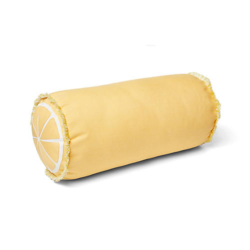 Kit 9x18 Outdoor Bolster Pillow, Yellow/White
