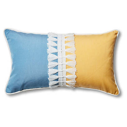 Kit 13x22 Outdoor Lumbar Pillow, Blue/Yellow