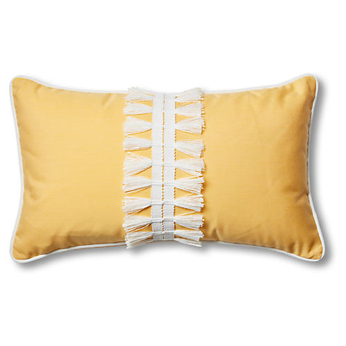 Kit 13x22 Outdoor Lumbar Pillow, Yellow/White