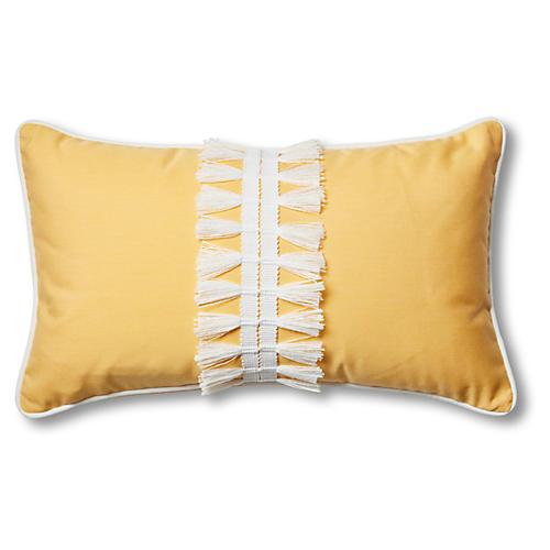 Kit 13x22 Outdoor Lumbar Pillow, Yellow/White
