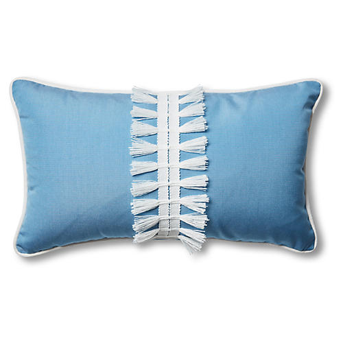 Kit 13x22 Outdoor Lumbar Pillow, Blue/White
