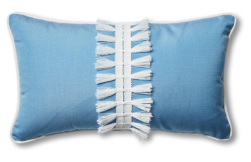 Kit 13x22 Outdoor Lumbar Pillow, Blue/White